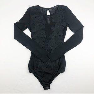 Haute Monde Floral Appliqué Black Bodysuit Small
